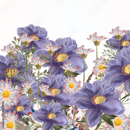 Background with flowers in purple and pink