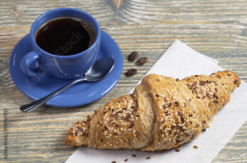 Wall mural Croissant and coffee