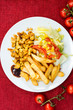 Fresh chicken steak with tomatoes and french fries - 168065374
