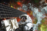 Astronaut on space mission. Elements of this image furnished by NASA. - 168069564