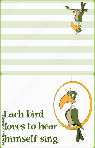 Illustration of a parrot with a tied up beak.Postcard. Proverb