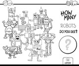 counting robots coloring page activity