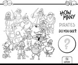 counting pirates coloring page activity