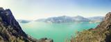 Panoramic aerial view of a mountain lake