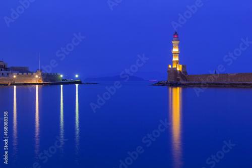 Aluminium Donkerblauw Lighthouse of the old Venetian port in Chania, Crete. Greece