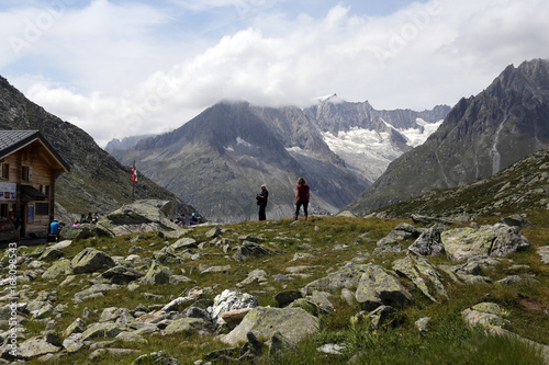 Foto op Canvas Wit Switzerland, Alps, Aletsch Panoramaweg