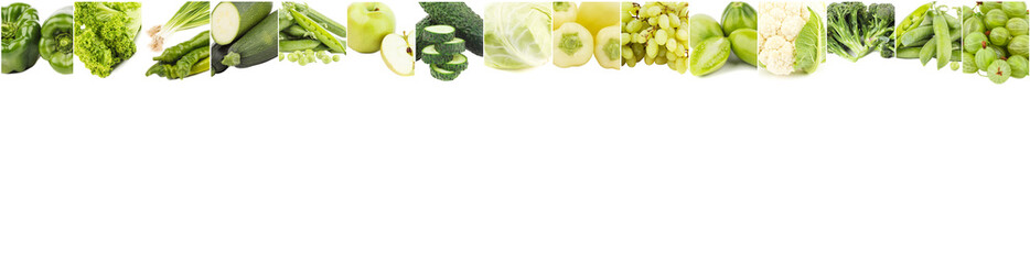 Lines from different green vegetables and fruits, isolated