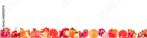 Spoed canvasdoek 2cm dik Verse groenten Lines from different red vegetables and fruits, isolated