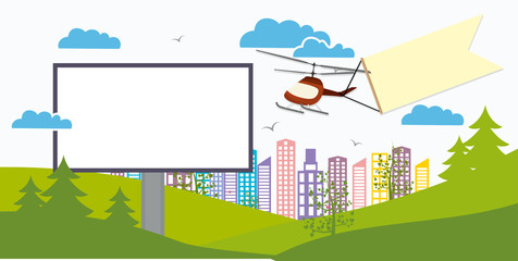 Advertising banner with space for text and a helicopter with banner mockup