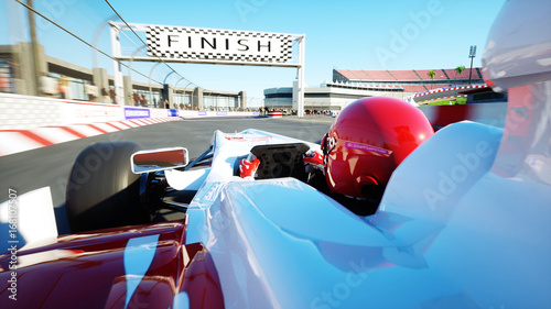 Foto op Plexiglas F1 Race car. Very fast driving. 3d rendering.