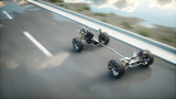Car chassis with engine on highway. Very fast driving. Auto concept. 3d rendering. - 168108161