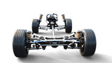 Car chassis with engine on white isolate. 3d rendering. - 168108183