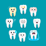 Set of cute cartoon tooth emoticons with different facial expressions. Dental care concept. Illustration isolated on green background. - 168137157