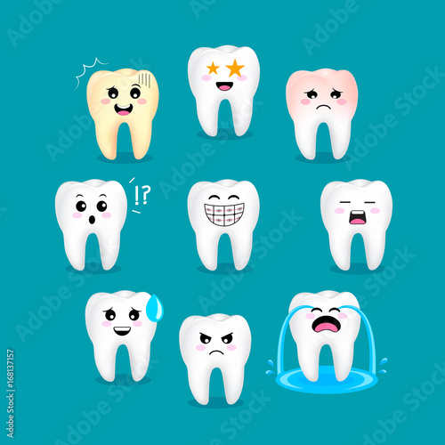 Set of cute cartoon tooth emoticons with different facial expressions. Dental care concept. Illustration isolated on green background.