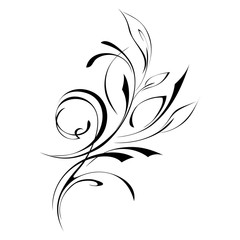 ornament 87. abstract drawing with foliage in black lines on a white background