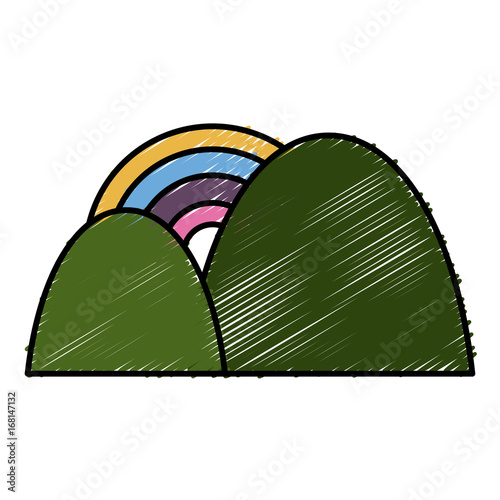 mountains and rainbow icon