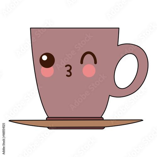 Wall mural kawaii ceramic cup of coffee handle vector illustration