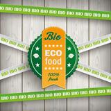 Bio Sticker Lines Eco Food Wooden Planks - 168158374