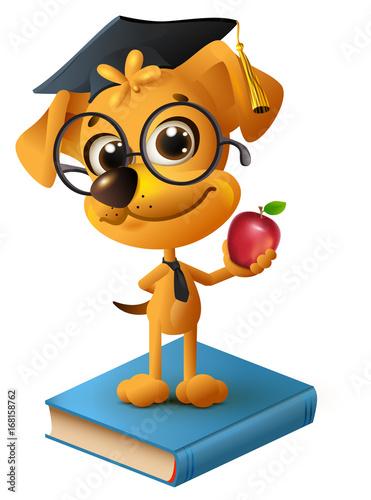 Yellow dog teacher holding red apple