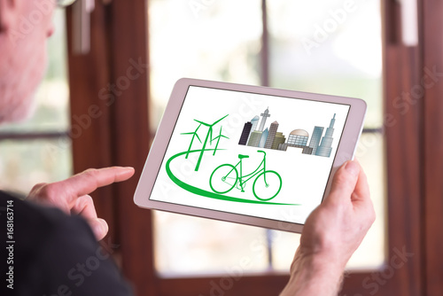 Eco friendly concept on a tablet