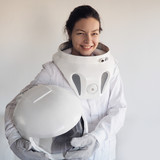 Female astronaut on a white background. Fantastic space suit. Exploration of outer space. - 168163944