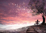 Fantasy illustration with beautiful sky, stars.  girl is sitting on a bench under an tree and looking at the sunset, cute  landscape. Painting. floral meadow and stairs - 168168931