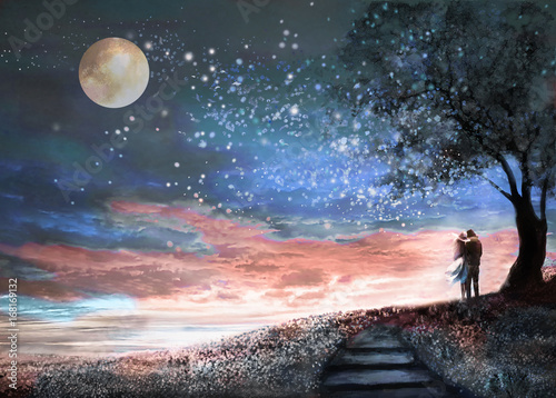 Fantasy illustration with night sky and MilkyWay, stars moon. woman and man under an tree looking at the space landscape. floral meadow and stairs.  Painting. © lisima