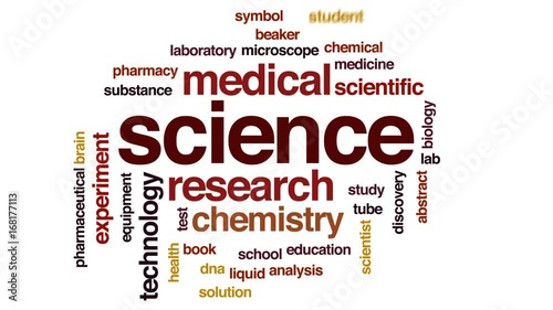 Science animated word cloud, text design animation.
