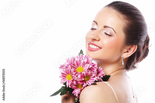 beautiful woman with pink flowers isolated on white