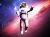 Astronaut posing on space background 3d render image - 168179925