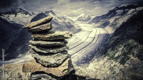 Papiers peints Noir Glacier Aletsch