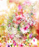 Abstract colorful flowers watercolor painting. Spring multicolored in .nature - 168186931