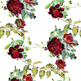Watercolor painting of leaf and flowers, seamless pattern on white background - 168186947