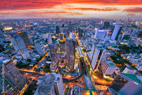 Fototapeten Bangkok Bangkok business district aerial view skyline with sunset time.