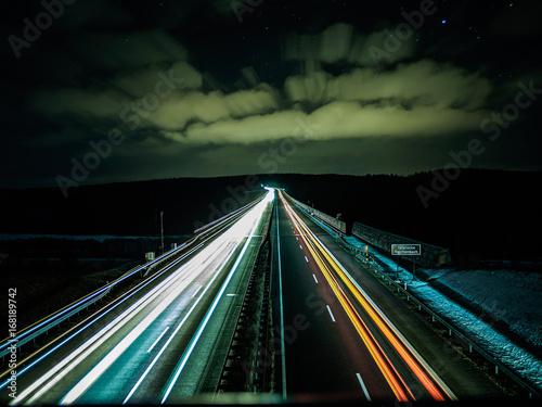 Foto op Plexiglas Nacht snelweg Autobahn Lichter