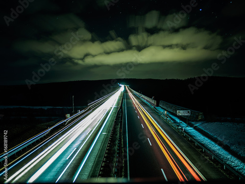 Fotobehang Nacht snelweg Autobahn Lichter