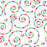 Vector seamless abstract kids background colored spirals