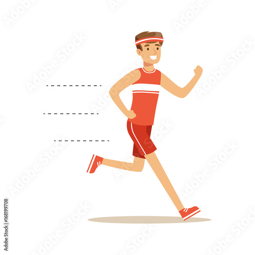 Smiling running man character vector Illustration