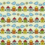Vector seamless children's colored pattern drawing houses clouds sun