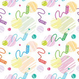 Vector seamless children`s colorful pattern with pencils and pattern