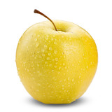 Yellow apple isolated on white background with water drop in full depth of focus with clipping path.