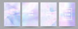Vector set of template with holographic soft pastel backgrounds