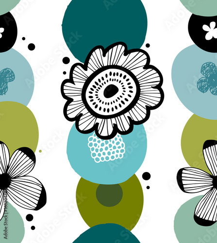 Floral decorative pattern in scandinavian style. Abstract background with stylized flowers © silmen