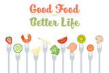 Healthy Eating Diet Concept Vector Illustration with food on forks