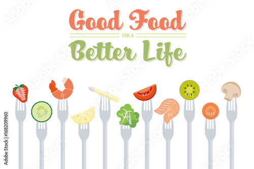 Wall mural Healthy Eating Diet Concept Vector Illustration with food on forks