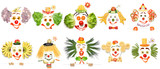 Funny plates / Creative set of food concepts of smiling clowns from vegetables and fruits.