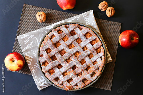 Sticker Apple pie with walnuts and apples