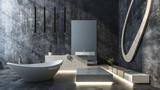 Luxuriöses Badezimmer in Beton Loft - 168224561