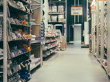 Store for home improvement and DIY. Warehouse of building materials in industiral store. Shallow DOF - 168226918