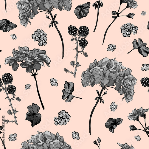 Materiał do szycia Floral seamless pattern with blooming geraniums